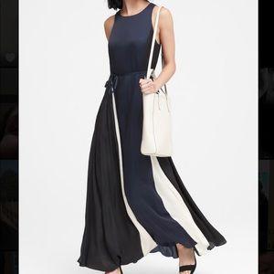 Navy / White / Black Silk Dress
